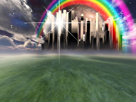 Heavenly City hovers in the sky. Rainbow