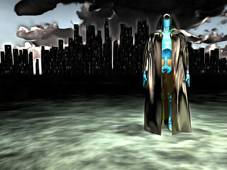 Surreal painting. Android in cloak stands before futuristic city.