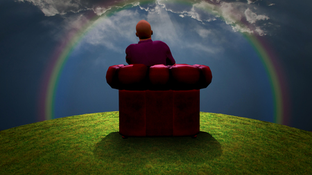 Surreal composition. Man sits in red armchair and observes rainbow in cloudy sky. 3D rendering