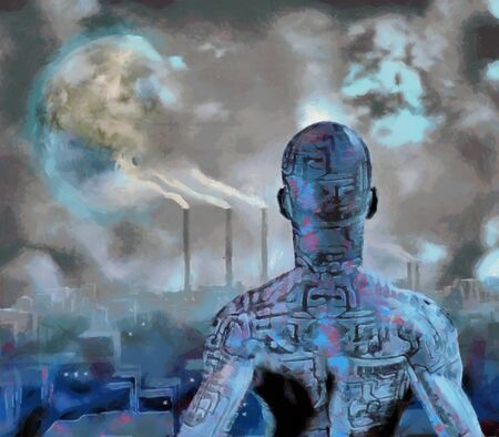 Surreal painting. Droid stands before futuristic city. Terraformed moon in the sky. Stock Photo