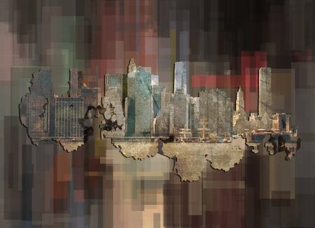 New York on abstract background.