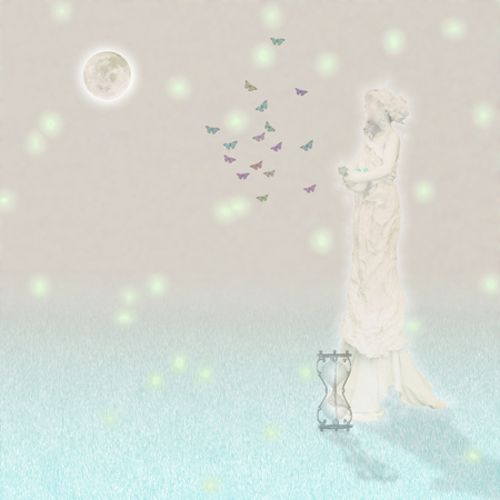 Woman`s marble statue and butterflies. Glowing moon and hourglass. Standard-Bild - 97212190