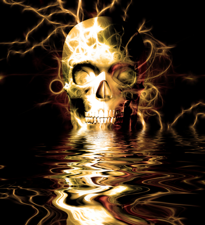 Skull reflected in water Stock Photo