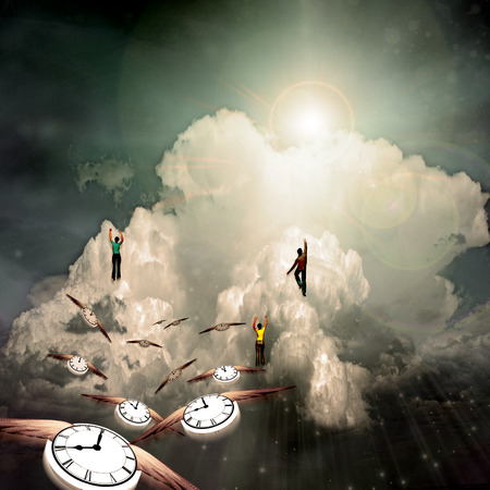 People hikes to the cloud. Winged clocks represents flow of time