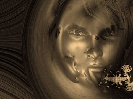 Woman's face. Sepia color Archivio Fotografico - 97691049