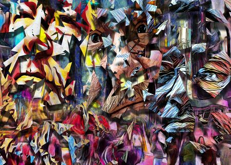 Complex abstract painting. Colorful mosaic elements and pieces of mens faces.