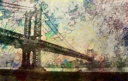Manhattan Bridge Painterly Landscape Stock Photo