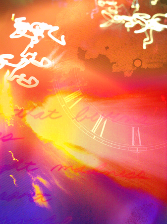 Abstract painting. Clock face with roman numbers, lines from poem and glowing swirls of light. Stock Photo