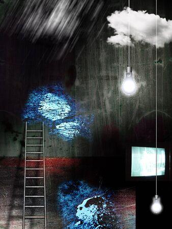Dark room. TV-set, light bulbs and ladder 版權商用圖片