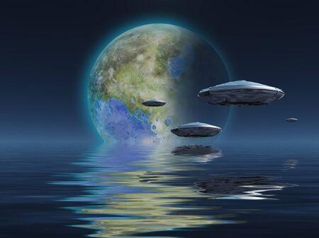 Spacecrafts flies over ocean. Terraformed moon at the horizon Stock Photo