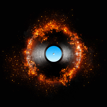 Illustrated record. Vinyl in fire.