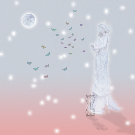 Woman`s marble statue and butterflies. Glowing moon and hourglass. Standard-Bild - 98224683