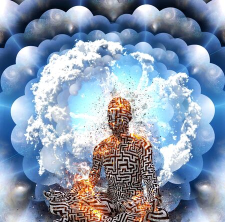 Surrealism. Burning figure of a man with a maze pattern in lotus pose. Multi layered spaces. Stock Photo