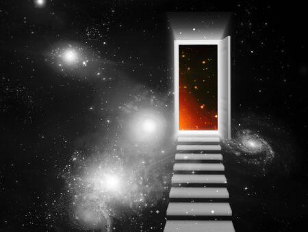 Doorway in open space Stock Photo