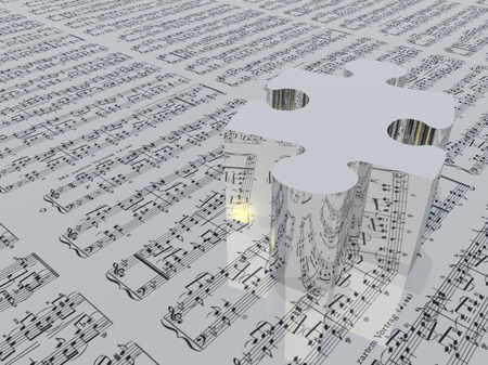 Puzzle piece and music notation. Standard waltz notes Stock Photo