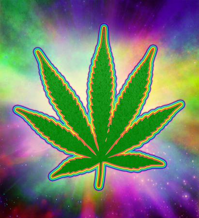 Marijuana Psychedelic Green Leaf Stock Photo