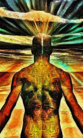 Man covered in text with light radiating from mind. 3D rendering