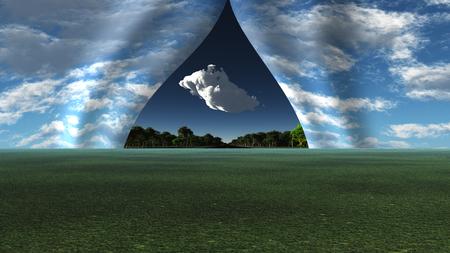 Himmel zog sich wie Vorhang , um verschiedene Landschaft zu zeichnen Standard-Bild