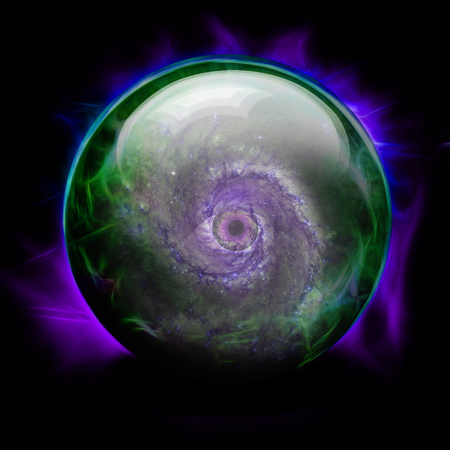 Crystal Ball with Galaxy and Eye Stock Photo
