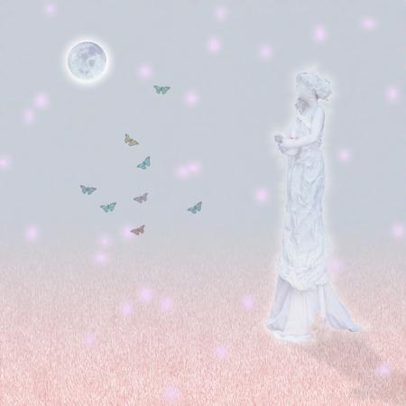 Woman`s marble statue and butterflies. Glowing moon. Standard-Bild - 99033251