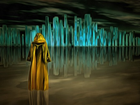 Surreal painting. Figure in cloak stands before futuristic city. Stock Photo