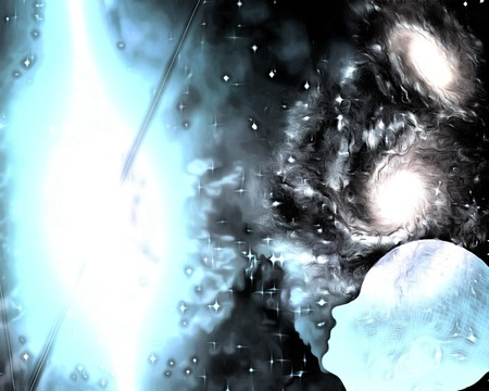 Surreal painting. Bright galaxies. Humans silhouette is dreaming. Stock Photo