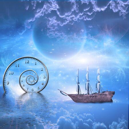 Ship sails time space scene Stock Photo