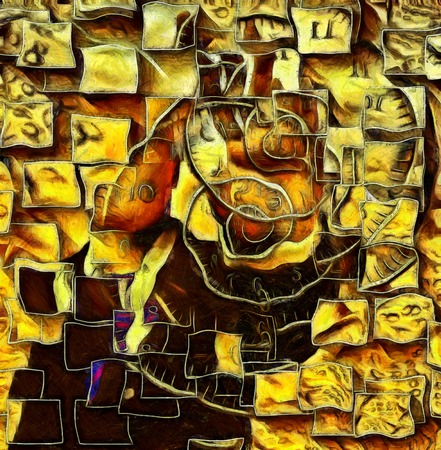 Surreal painting. Mans silhouette, spirals of time, square block elements. Stock Photo