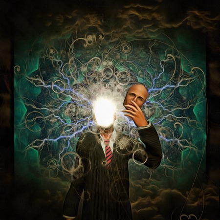 Surreal painting. Man holds mask in hand. Bright light and lightnings instead of his face.