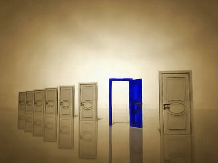 Surrealism. Seven white doors and one blue door symbolizes choice. Stock Photo