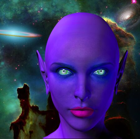 The face of female alien. Colorful universe on a background.