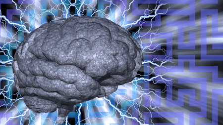 Psychedelic background and human brain Stock Photo