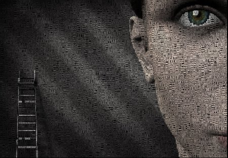 Surreal digital art. Womans face and ladder. Picture is composed entirely of the words.