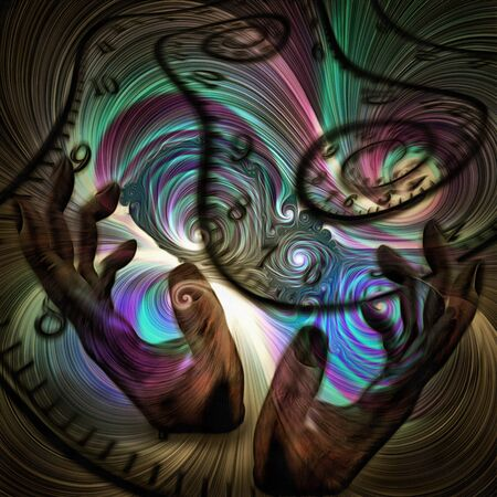 Surreal painting. Humans hands and spirals of time. Colorful swirls.