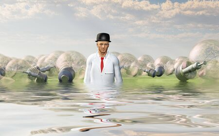 Man with large ideas surrounding him in the form of classic lightbulbs in flooded landscape Stock Photo - 99611279