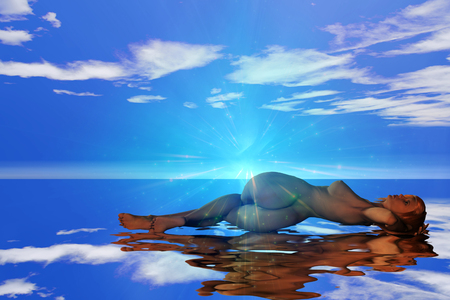 Woman lies on water surface. Cloudy sky