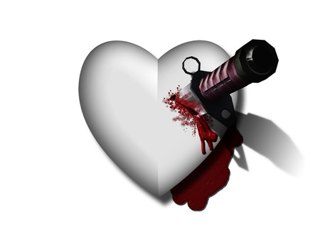 Bleeding heart with bloody knife