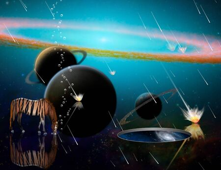 Surreal 3D rendering. Exosolar planets and meteor shower. Striped horse and wormhole to another dimension.