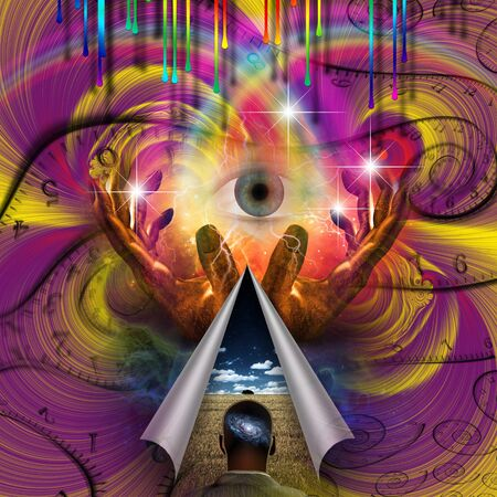 Psychedelic Abstract. Eye of God. Hands of prayer
