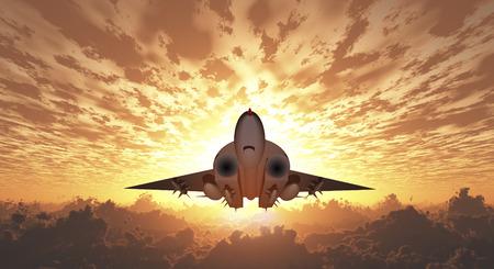 Military Jet  in Flight. Sunrise or sunset Stock Photo