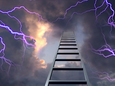 Lightning flashes with ladder to the top