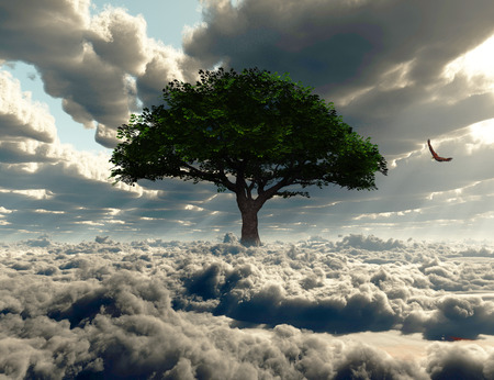Green tree on a field of clouds. Eagle in the sky.