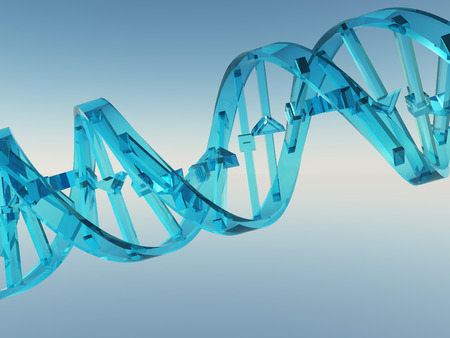 Crystal DNA Strand. 3D rendering Stock Photo