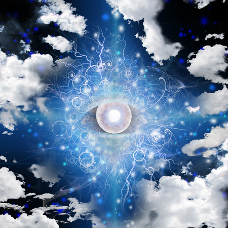 Gods eye in cloudy sky