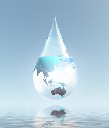 Eco composition. Planet Earth in drop of water