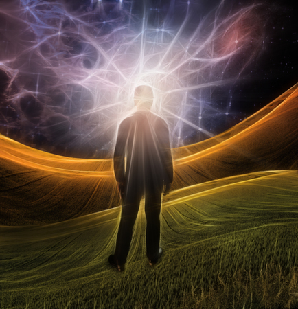 Explosion of imagination. Man stands in green field Stock Photo