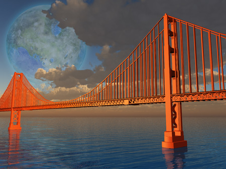 Golden Gate Bridge with terraformed luna above Stock Photo