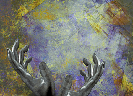 Abstract Painting. Stone human hands Stock Photo