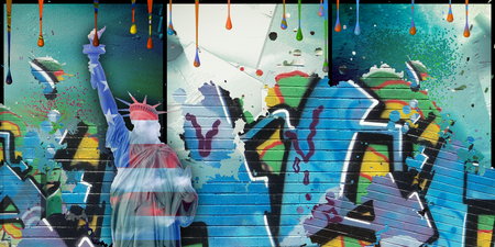Modern art. Liberty statue in national colors. Pieces of graffiti. Paint drops.