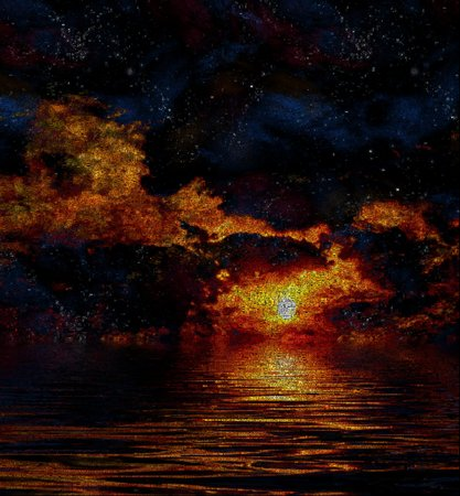 Red sunset above water. Image composed entirely of words